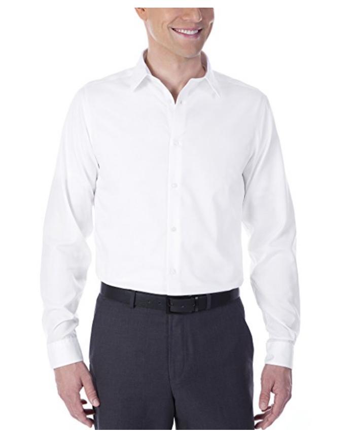 Calvin klein men 100 cotton slim fit non iron dress shirt for Non iron slim fit dress shirts