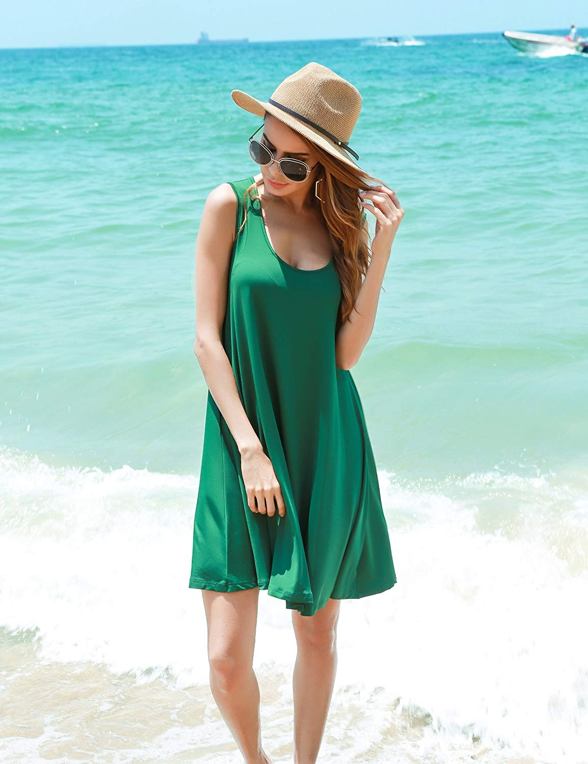 Best Coupon Of Sexy Sleeveless Loose Casual Beach T Shirt Dress